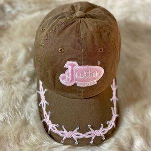Women's Justin Boots Brown & Pink Ball Cap